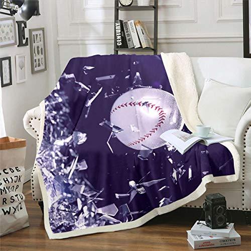 Manta de béisbol sherpa deportiva de forro polar para niños y niñas 3D Chic Ball Manta de felpa, diseño geométrico de juegos de béisbol, manta difusa para sofá cama, individual 128 x 152 cm