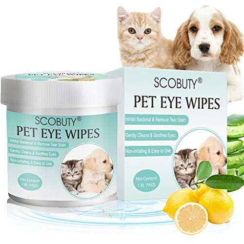 SCOBUTY Pet Eye Wipes,Pet Wipes, Pet Tear Stain Wipes,Eye Tear Stain Remover Wipes for Pets,Natural Tear Eye Stain Remover Pads,Cleansing Eye Wipe, Pet Soft Grooming Wipes,130 Pads