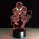 Anime Spider Iron Man 3D Veilleuse Pour Enfants Garçons Filles Cadeau 3D Illusion Lampe Pour Chambre À Côté De La Table, 16 Changement De Couleur Led Lampe D'Ambiance Bureau Lampe De Table Enfants
