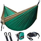 WINNER OUTFITTERS Double Camping Hammock - Lightweight Nylon Portable Hammock, Best Parachute Double Hammock for Backpacking, Camping, Travel, Beach, Yard. 118'(L) x 78'(W) Khaki/Olive