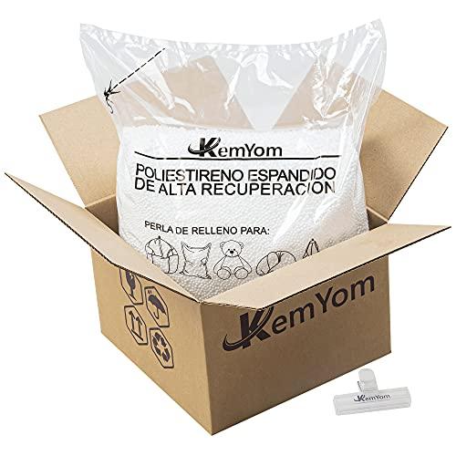 KemYom - Relleno para Puff – Bolitas de Poliestireno Expandido de Gran Volumen y Densidad – Perlas de Espuma EPS con Memoria de Alta Recuperación – Bolitas + Bolsa + Caja + Pinza - (25 litros)