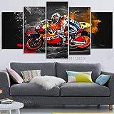 LIVELJ Carreras de Motos MotoGP 5 Parti XXL Cuadros Decoracion Salon 5 Piezas Material Tejido no Tejido Impresión Artística Imagen Decoracion de Pared Cuadro Marco 150x80cm