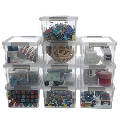 Citylife 1.3 QT 10 Pack Small Storage Bins Plastic Storage Container Stackable Box with Lids for Organizing, Clear White