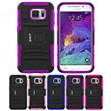 Galaxy S6 Stand Case, HLCT Rugged Shock Proof Dual-Layer PC and Soft Silicone Case with Built-in Stand Kickstand for Samsung Galaxy S6 (2015) (Purple)