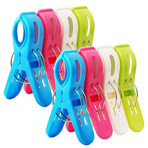 HiGift 8 Pack Beach Towel Clips Chair Clips for Pool Chairs in Fun Bright Colors,Plastic Quilt Clips Windproof Clothes Hanging Peg - Keep The Towels from Blowing Away,Jumbo Size (Best Places To Cruise)