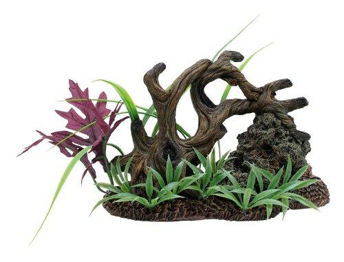 Marina drijfhout, rotsen en planten op gras begroeide bodem, 19.5 x 10.5 x 12.5 cm, multicolor