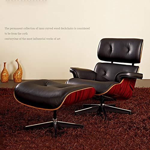 Engpai Silla de salón de mediados de siglo con otomana, estilo retro, sofá de piel auténtica para sala de estar, oficina, entrega rápida de muebles A