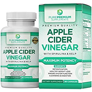 Premium Apple Cider Vinegar Capsules by PurePremium (Maximum Strength) ACV Pills – Healthy Digestion, Energy, and Immune System – 90 Caps