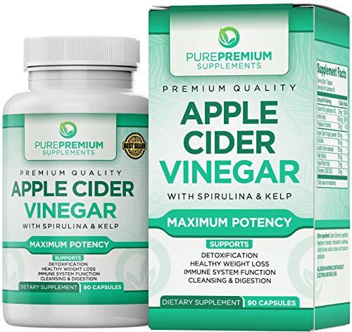 Premium Apple Cider Vinegar Capsules by PurePremium (Maximum Strength) ACV Pills – Healthy...