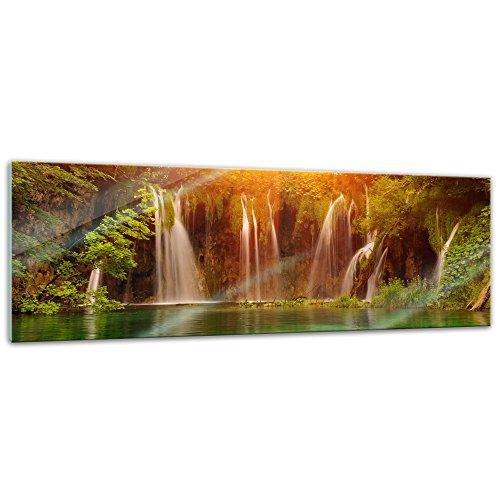 Glasbild - Wasserfall, Plitvice Kroatien - 120x40 cm - Deko Glas - Wandbild aus Glas - Bild auf Glas - Moderne Glasbilder - Glasfoto - Echtglas - kein Acryl - Handmade