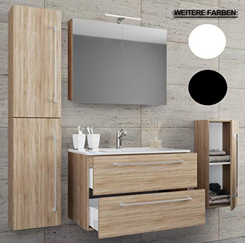 VCM 5-TLG. Waschplatz Badmöbel Badezimmer Set Waschtisch Waschbecken Schubladen Keramik Badinos Spiegelschrank Breite 80 cm: Sonoma-Eiche