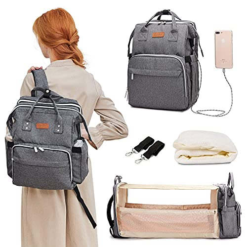 Diaper Bag Backpack, Travel Foldable Baby Bed, Portable Sleeping Mummy Bag, Multifunction Large Capacity Baby Bassinet with USB Charging Port,...