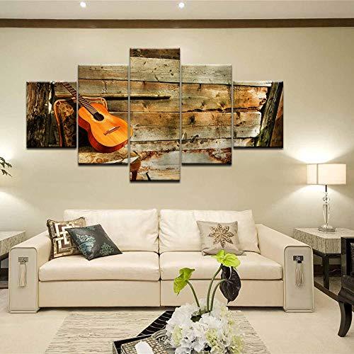 Retro abstracte gitaar muziekinstrument canvas schilderij HD print Wall Art foto posters prints woonkamer Home Decor-30x40 30x60 30x80cm (geen frame)