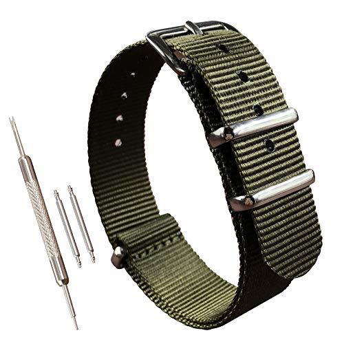 17mm Grün Nylon Uhrenarmband NATO Strap Militär G10 für Herren Damen Polished Schnalle
