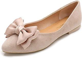 Dames plat bas chaussures Casual pointu confortable résistant à l'usure pu Bow pure couleur Ballet chaussures de danse
