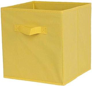 Tissu panier Bin Boîtes de rangement de rangement pliable cubes Organisateur avec des poignées jaunes de stockage