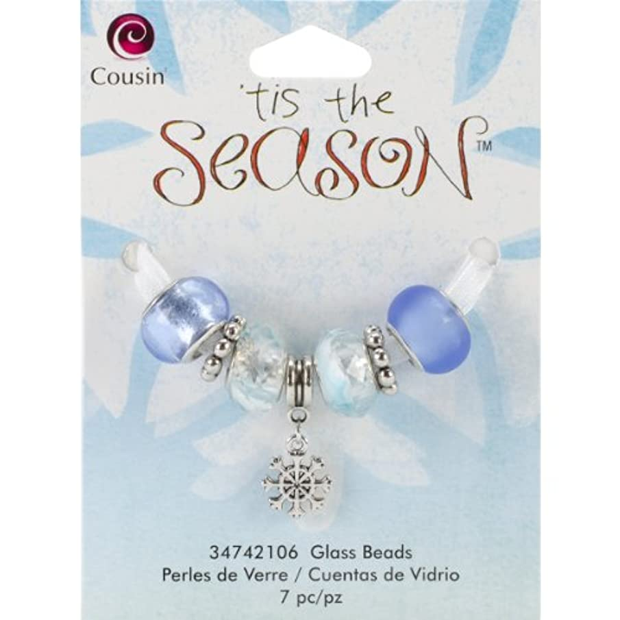 Cousin Tis The Season Large Hole Beads, Snowflake Glass and Metal, 7-Pack
