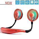 Hands Free Neck Fan, Mini USB Personal Fan Rechargeable Color Changing LED, 360° Free Rotation,and Lower Noise Strong Airflow Headphone Design for Any Place