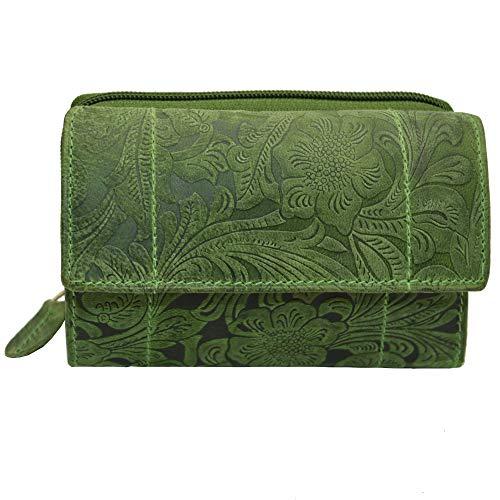 Portemonnaie Damen Wild Leder Geldbeutel in 9 Farben RFID Schutz (Grün-Blumenmuster)