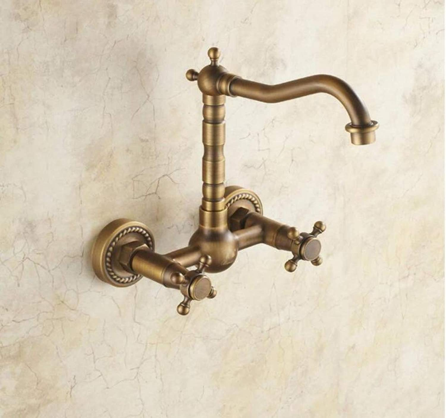 Kitchen Bathroom Mixer Faucet Antique Faucet All-Copper Hot and Cold redation Continental Faucet Antique Faucet
