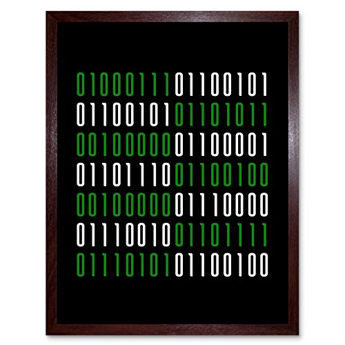 Binary Geek and Proud Nerd Humour Quote Art Print Framed Poster Wall Decor 12x16 inch Zitat Wand Deko
