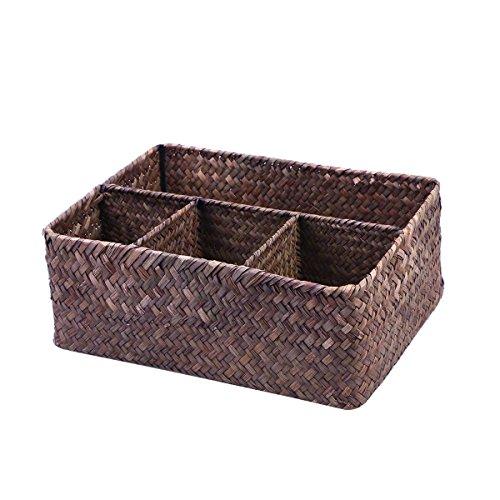 Ounona - Caja de almacenamiento apilable para alimentos con algas de mimbre, cesta para cosméticos de papel (marrón oscuro)