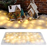 Christmas Snow Blanket with LED Lights Christmas Table Blanket Snow Table Runner White Non-Woven Fabric Snow Blanket Xmas Artificial Snow Table Blanket for Christmas Holiday Party Table Decoration