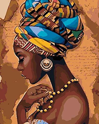 Pintar por Numeros Adultos Mujer Negra Africana Cuadros para Pintar por Numeros Pint por Número de Kits for Adultos Mayores Avanzada Niños Joven - (40x50cm, Sin Marco)