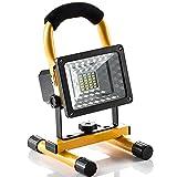 Lampe Chantier 15W Super Lumineuse, Projecteur LED Torche Portable et Rechargeable pour Ouvrier, Bricoleur, Tourneur et Travailleur (Jaune)