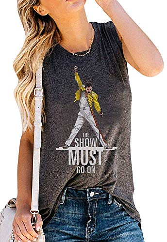Camiseta de tirantes vintage para mujer The Show Must Go On, divertida camiseta de Freddie Mercury sin mangas - gris - Medium