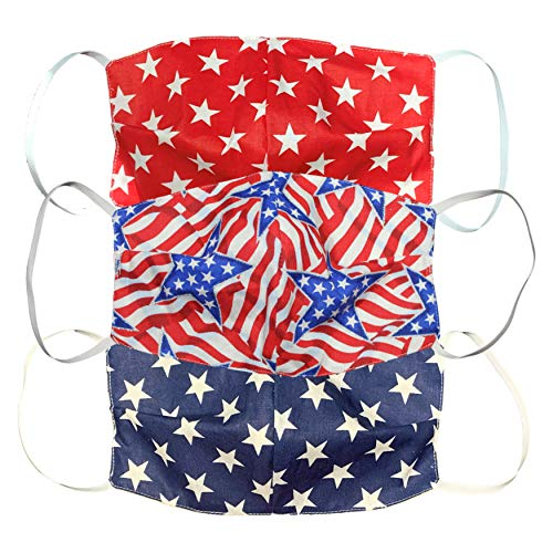 Face Mask American Flag 3-Pack Washable Reusable Patriotic Protective Multi Purpose Made in USA