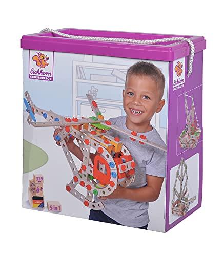 Eichhorn - Constructor Hubschrauber Bausatz – Konstruktionsspielzeug aus Holz, 225 Teile, für Kinder ab 6 Jahren, verschiedene Bauvarianten, in Box
