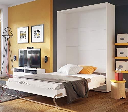 Arthauss Modern Bedroom Vertical Fold Away Pull Out Murphy Bed in White Matt in 3 Sizes sold (140 x 200cm)
