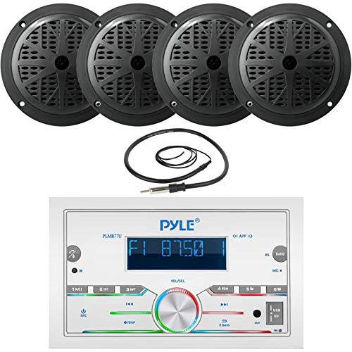 Pyle Double DIN AM FM Stereo MP3 USB AUX Bluetooth Marine Power Receiver Bundle Combo with 2 Pairs of 5.25   100 Watts 2-Way Full Range Black Waterproof Marine Stereo Speakers, Wired Antenna