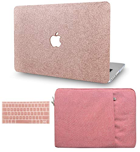 KECC Laptop Case for MacBook Pro 13' (2020, with Touch Bar) w/Keyboard Cover + Sleeve Plastic Hard Shell Case A2289/A2251 3 in 1 Bundle (Rose Gold Sparkling)