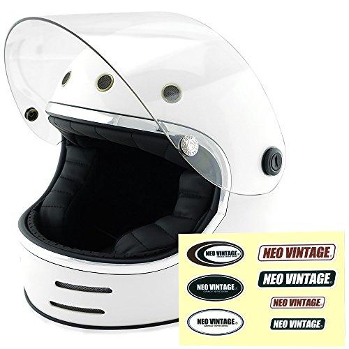 NEO VINTAGE レトロフューチャー フルフェイス SG規格品 ステッカー付 [ホワイト×クリアシールド 白 Lサイズ:59-60cm対応] VT-9 バイクヘルメット