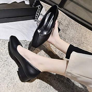 أحذية مسطحة للنساء - أحذية مسطحة نسائية ذات مقدمة مدببة من الجلد للنساء أحذية نسائية كاجوال ذات فتحة واحدة مسطحة بدون كعب zapatos de mujer (أسود 9)