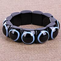 KALRTO Natürlicher Achat Herren Armband, Eye-Eye Jade Dzi Bead Armband Elastische Hand, Schwarz, Ca. 22x22x14mm