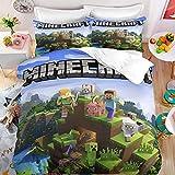XXIGN Minecraft Juego de Ropa de Cama Infantil - Impresión Digital 3D Minecraft Game, Juego de Colcha para Cama 105 200x200 3 Piezas Microfibra con Cremallera