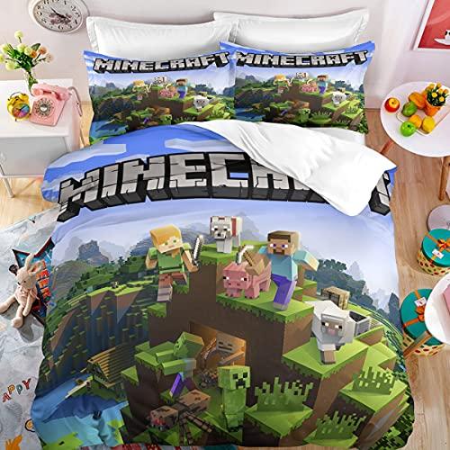 XXIGN Minecraft Juego de Ropa de Cama Infantil - Impresión Digital 3D Minecraft Game, Juego de Colcha para Cama 90 155x220 3 Piezas Microfibra con Cremallera