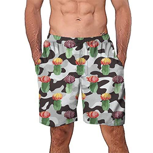 Gusspower Badehose für Herren Quick-Dry Badeshorts Tunnelzug Männer Freizeit Urlaub Mode Kaktus Drucken Shorts für Strand Beach Schwimmen Sport YC37