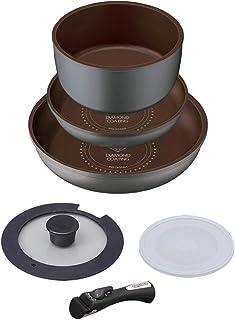 【Amazon.co.jp限定】 アイリスオーヤマ フライパン 鍋 セット フライパンセット IH ガス火対応 6点 ダイヤモンドコートパン シルバー 軽量 取っ手がとれる こびりつかずにお手入れ簡単 H-IS-SE6