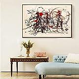 LIZHIOO Jackson Pollock Resumen Expresionist Prose Lienzo, Arte Moderno Pintura Al Óleo Artístico Cartel De Pintura Al Óleo, Decoración del Hogar (sin Marco) (Size (Inch) : 30x40cm No Framed)