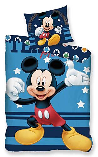 AYMAX S.P.R.L. Disney - Parure da letto Topolino, 100% cotone, copripiumino 140 x 200 cm + federa 65 x 65 cm