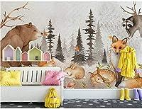 カスタム壁画壁紙3D手描きの森クマ動物子供部屋の背景壁の装飾絵画PapelDe Parede Sala-250cmx175cm(98.4x68.9inch)