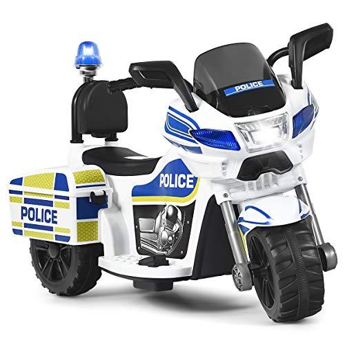 Costzon Kids Ride on Police Motorcycle, 6V Battery Powered Motorcycle Trike w/Horn, Headlight Police Light, 3-Wheel Design, Forward/Reverse, ASTM Certification, Gift for Boys Girls (White)