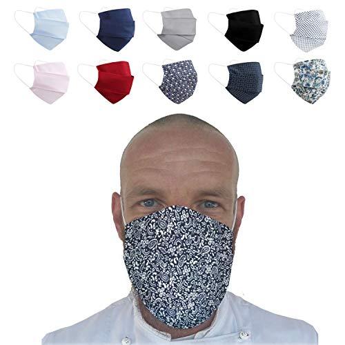 (Paisley) Wiederverwendbarer Mundschutz Maske mit 3 Filter -100% Baumwolle Öko Tex Zertifiziert Stoff Maske, Waschbare Atemschutzmaske Gesichtsmaske Schutzmaske Mundmaske Mund Maske Kälteschutz