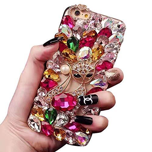 Ostop Bling Diamant Hülle für iPhone 6S,iPhone 6 Kristall Strass Handyhülle Mädchen Frauen 3D Fuchs Tier Glänzend Kristall Case,Durchsichtig Voll Steine Hard PC Schutzhülle,Rosenrot