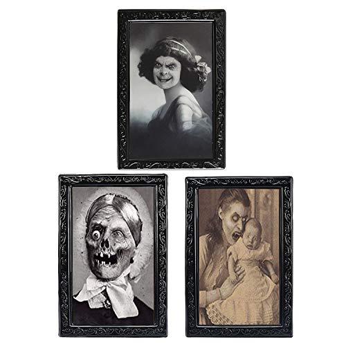 TRIXES 3 Marcos imágenes Movimiento Magia Lentes 3D Halloween-Retrato Caras cambiantes Decoración Terror Fiestas temáticas fantasmales embrujadas-38X25cm