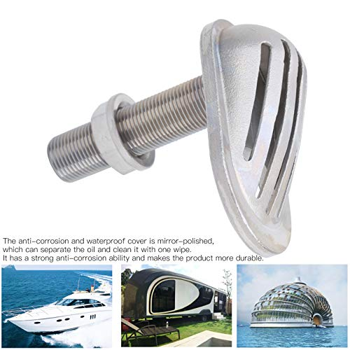 Cuque May Gifts Boat Pump Scoop, Stainless Steel 316 Raw Water Intake Corrosion Resistant Water Intake Strainer, Thru‑Hull Filter for Marine Boat Kayak Yacht(MJS023-3/8〃)